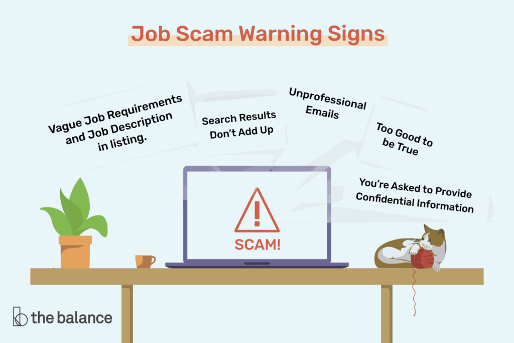 Job scam warning signs graphic